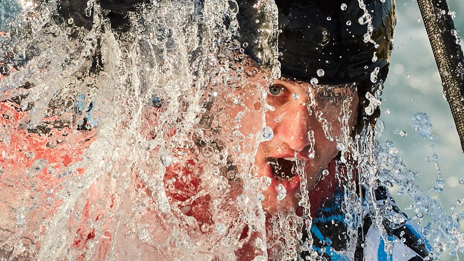 close up of kayaker face